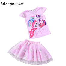 KEAIYOUHUO Summer Toddler Girls Set Baby Kid Princess Clothes Children Cartoon Party pony lace dress cotton T Shirt + Skirt Suit
