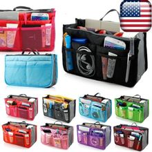 Large storage bag Hot necessaire women Purse Handbag Organizer Organiser Travel Travelling Bag Insert Liner cosmetic bag(China)