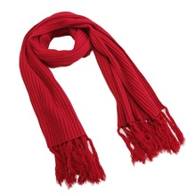 Knitbest''180x50CM Winter Couple Scarves Red Tassel Fringe Thickening Christmas Scarf For Lovers Rib Scarf Soft Shawl
