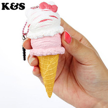 Original Package Rare Hello Kitty Squishy Sweet Kawii 5pcs/lot Ice Cream Squishies Food Toy Wholesale Cute Cell phone Charm Pink