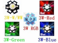 Freeshipping!10PCS 1W 3W High Power LED Chip light Chip emitter Cool White Warm White Red Green Blue RGB with 20MM Star PCB