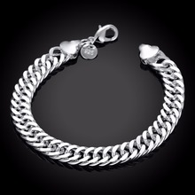 Buy 10MM 925 Sterling Silver 20cm hand link chain Bracelets & Bangles Women Men New Fashion silver Jewelry Wholesale for $3.00 in AliExpress store
