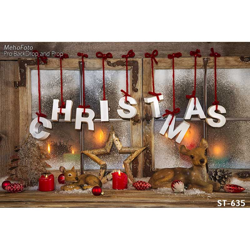 Horizontal vinyl print warm Christmas light window photography backdrop for photo studio portrait backgrounds ST-635<br>