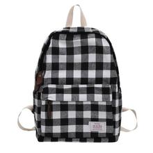 "Grid Fabric Women Backpack Canvas School Backpack Bag 13"" Computer Bag Travel Day Pack Black Red plaid book bags(China)"