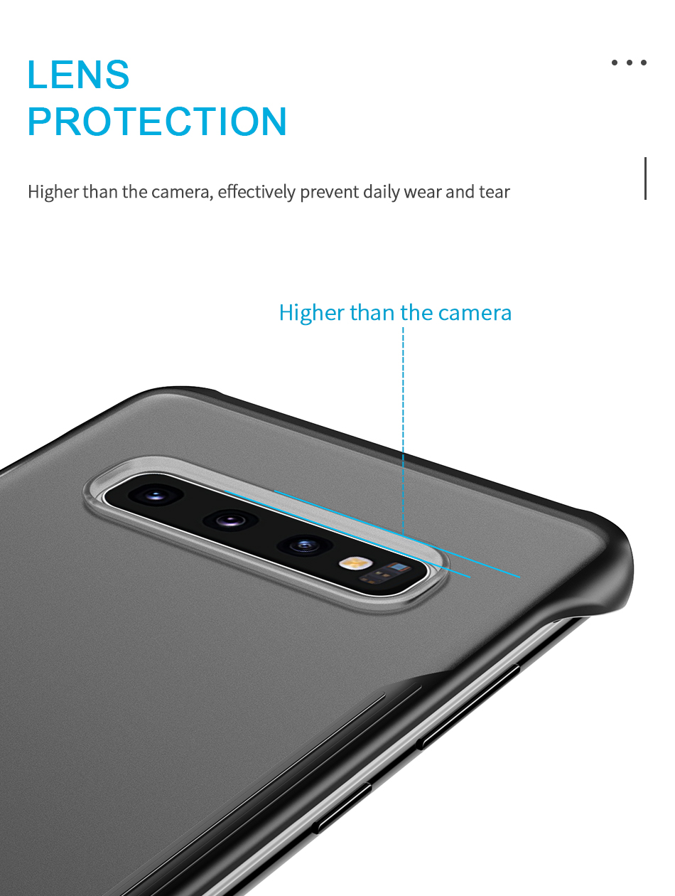 iStylishmall - Frameless Transparent Matte Hard Cover Case With Finger Ring For Samsung Galaxy S9 S10 Plus S10E