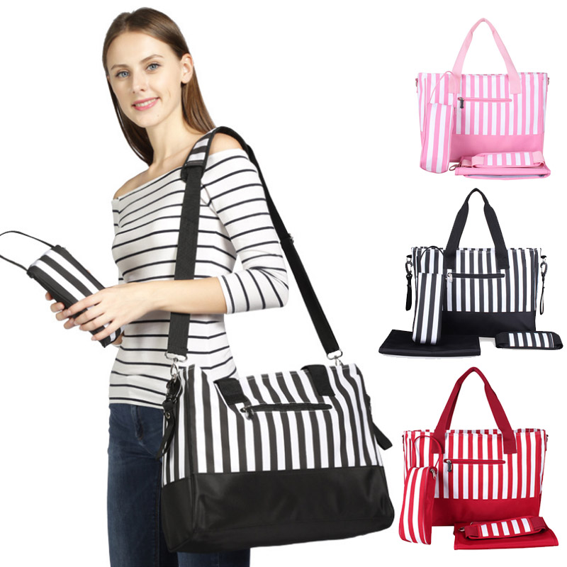 Diaper Bag Mummy Backpack Nappy Bag Large Capacity Stroller Bags Black And White Stripes Nursing Bag For Baby Care