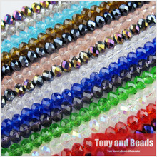 150Pcs/Lot  4mm Mixed Faceted Glass Crystal Rondelle Spacer Beads For Jewelry Making 17Colors In Total Free Shipping No.CB1