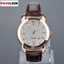 Fashion Men Calendar Function Watch  Alloy Quartz Wrist Watch PU Leather Band