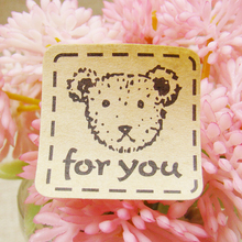 Cute Bear Packing Sealing Paste Gift For You Thank You Seal Affixed Stickers Gift Tag Sticker Label Roasted Size 100pcs/lot(China)