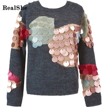RealShe Sequins Contrast Sweater Women New Long Sleeve Gray Women Sweater And Pullovers 2017 Fall Fashion Winter Sweater(China)