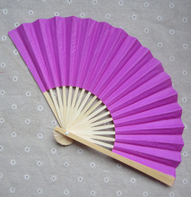 [I AM YOUR FANS] Free Shipping 500pcs/lot 23CML Fuchsia 2sides paper fan can be personalized name&date 11colors