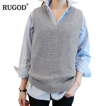 RUGOD Vest 2017 New Autumn Women Vest Pretty Sleeveless O-Neck Rabbit Hair Knitted Vest Women Plus Size 2XL 3XL 4XL Veste Femme(China)
