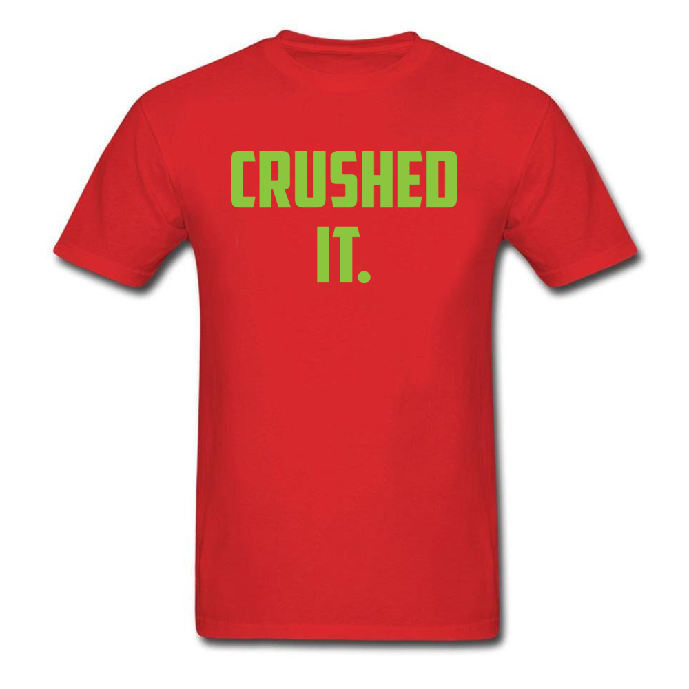Crushed It Summer T-Shirt for Men Pure Cotton Labor Day Tops Tees Print Tee Shirt Short Sleeve Retro Round Neck Crushed It red
