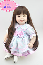 Buy Sweet 55cm 22inch Silicone Reborn Dolls Black Long Hair Can Make Many Hair Styles Hot Welcome Reborn Toddler Dolls Girl