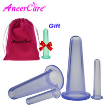 4 Pcs Massage cans vacuum cupping silicone for face massage cans anti cellulite massager cupping set family body helper(China)