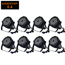 8 Pack TIPTOP 18x18W RGBW+UV Led Par Light Waterproof IP65 Stage 6IN1 Outdoor Led Par 64 DMX512 6/10CH Master-slave, Auto, Sound