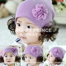 Beanies new arrival lovely The new little diamond flower wig cap sleeve head cap child hat female baby  girl hat