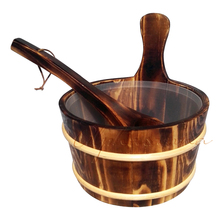 Free shipping 4L Sauna pail and ladle Red Cedar& Pine combined with Insert Factory Sauna accessories, Wholesaler, Sauna Dealer(China)