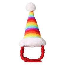 Cotton & Plush Design Small Pet Hamster Christmas Rainbow Hat Adjustable belt Chinchillas Rabbits Colorful Featival Hats Supply(China)