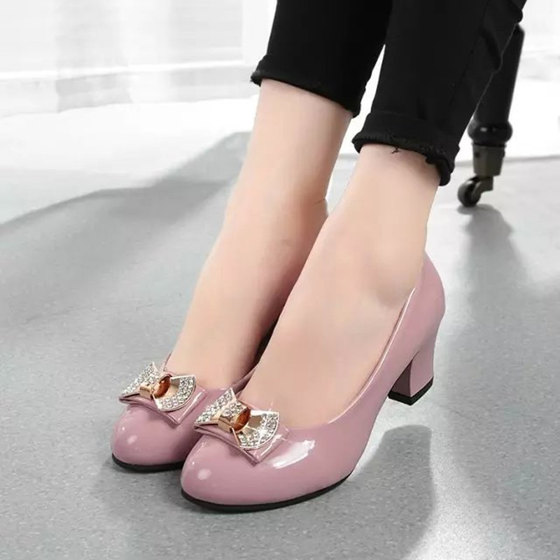 Rhinestone Low Heel Bowtie Women Pumps Thick Heels Genuine Leather Office &amp; Career Shoes for Women Imported PU Leather D65 35<br><br>Aliexpress