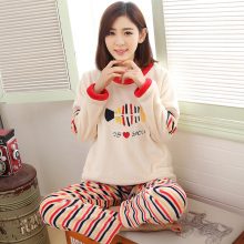 Brand Autumn Winter Flannel Women's Pajamas Set Cartoon Coral Fleece Sleepwear Men Pyjamas Mujer Lady Casual Home Clothing 3XL(China)