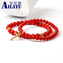 Ailatu Brand Jewelry 5mm A Grade Dyed Red Coral Stone Clear Cz Jesus Cross Beaded Bracelet for Men and Women Gift(China)