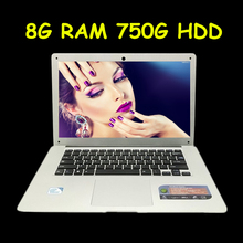 Quad Core Laptop Computer Celeron J1900 2.00GHz 8GB DDR3 750GB HDD 14 Inch 1600x900 HD Screen Wifi MINI HDMI Webcam Notebook