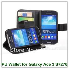 Hot Sales Black PU Leather Wallet Covers for Samsung Galaxy Ace 3 S7270 S7272 With Card Holder Stand Case free Shipping(China)
