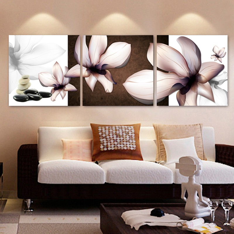 3 panel wall art HD Printed Blooming white flowers picture Painting wall art room decor print poster picture canvas(China (Mainland))