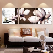 3 panel wall art HD Printed Blooming white flowers picture Painting wall art room decor print poster picture canvas(China)
