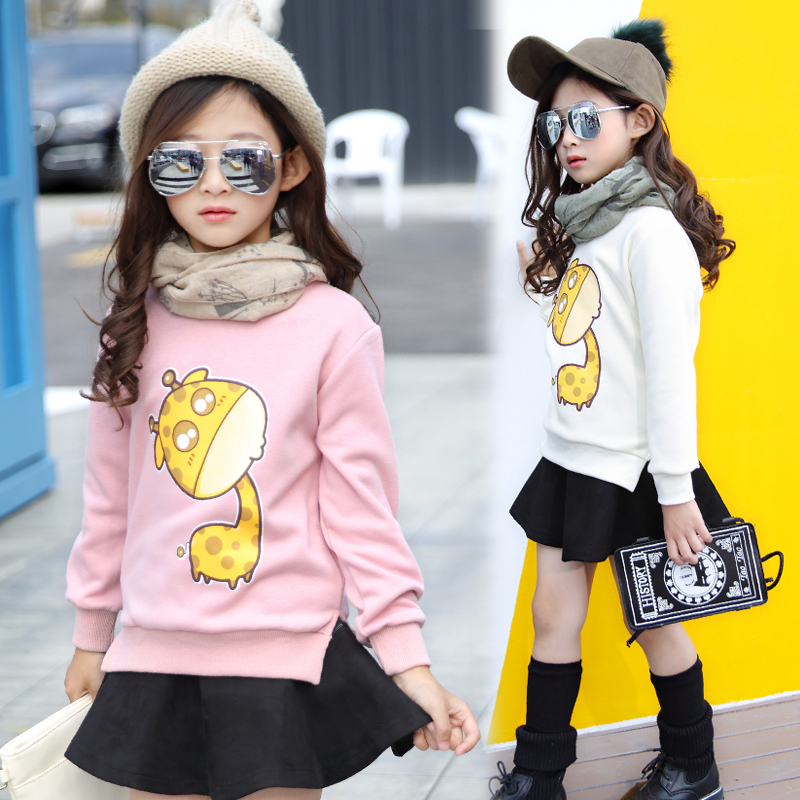4 5 6 7 8 9 10 11 12 13 Years Teenage Girls Fashion T Shirt Cartoon Warm Winter T-shirt For Girls Plus Velvet Bottoming Shirts<br><br>Aliexpress
