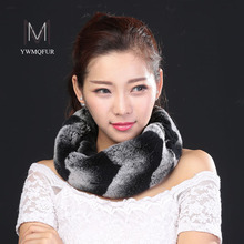 Hot 2017 Women Whole set rabbit skin Rex rabbit fur scarf Real Natural Rabbit Fur Ring Scarves for women high quality  for girl