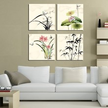 4 Panel Modern  Painting Home Decorative Art Picture Paint on Canvas Prints Orchid, lotus, daffodils and bamboo