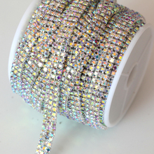 SS8 1 Yard 3 Rows Crystal AB Close Rhinestone Cup Chain With Silver Base Rhinestone Trimming For Garment Accessories Y2274