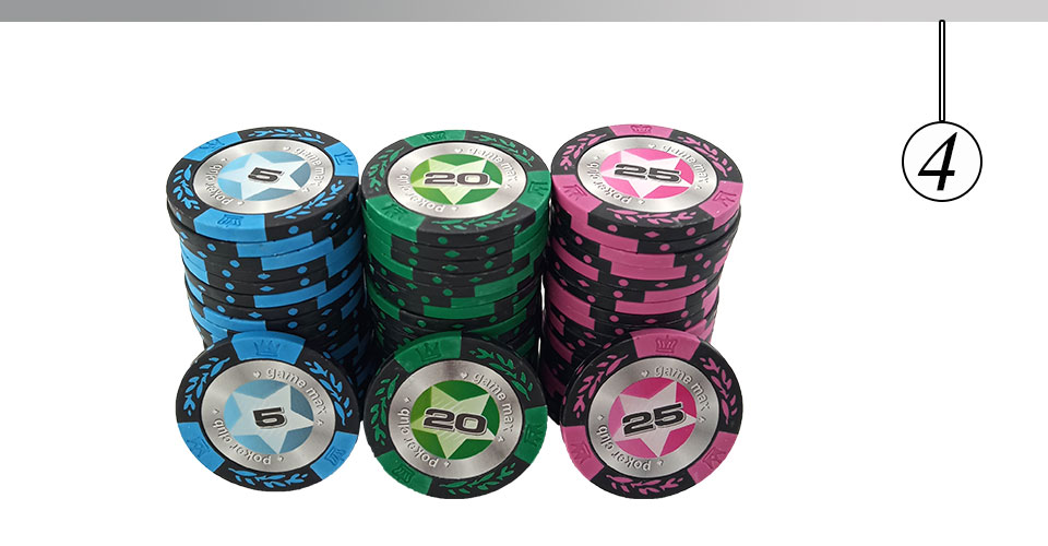 Upscale Poker Chips Set Clay Embedded Iron Texas Hold/'em Professional Poker Chip