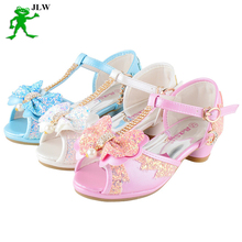 Girls kids sandals 2017 children's high heel children fashion princess leather summer shoes chaussure enfants fille sandal TX027