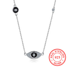 Buy S925 Sterling Silver Chain Zircon Charm Necklace Oval Eye Clear Crystal Initial Necklace Pendant Women Delicate Jewelry Chokers for $15.74 in AliExpress store