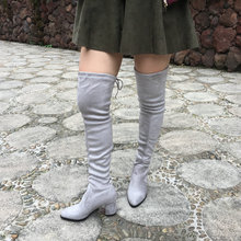 Womens Micro Suede Over the Knee Boots Fashion Thick Heels Thigh High Female Boots Fall Winter Wine Beige Armygreen Black Gray