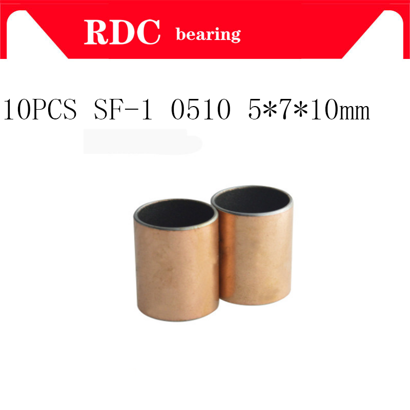 Free shipping 10pcs SF-1 0510 5x7x10 mm High quality Self Lubricating Composite Bearing Bushing Sleeve SF1 5*7*10mm