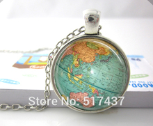 Buy Hot glass dome jewelry Vintage Globe Necklace Planet Earth World Map Necklace Art Glass dome pendant necklace HZ1 for $1.50 in AliExpress store