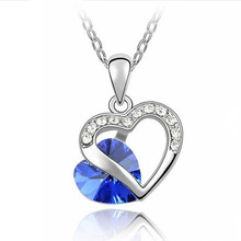 SHUANGR  1PC 9 Colors Crystal Heart Pendant Necklace for Women Valentine's Day Gift for Lovers