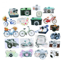 21 pcs/bag bicycle&camera adhesive paper sticker children diy Handmade Gift Card photo album Scrapbook diary decoration stickers