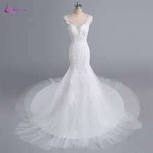 Buy Waulizane Illusion Back Elegant Appliques Tulle V-Neck Mermaid Bridal Gown Court Train Beaded Button Cap Sleeves Wedding Dresses for $211.46 in AliExpress store