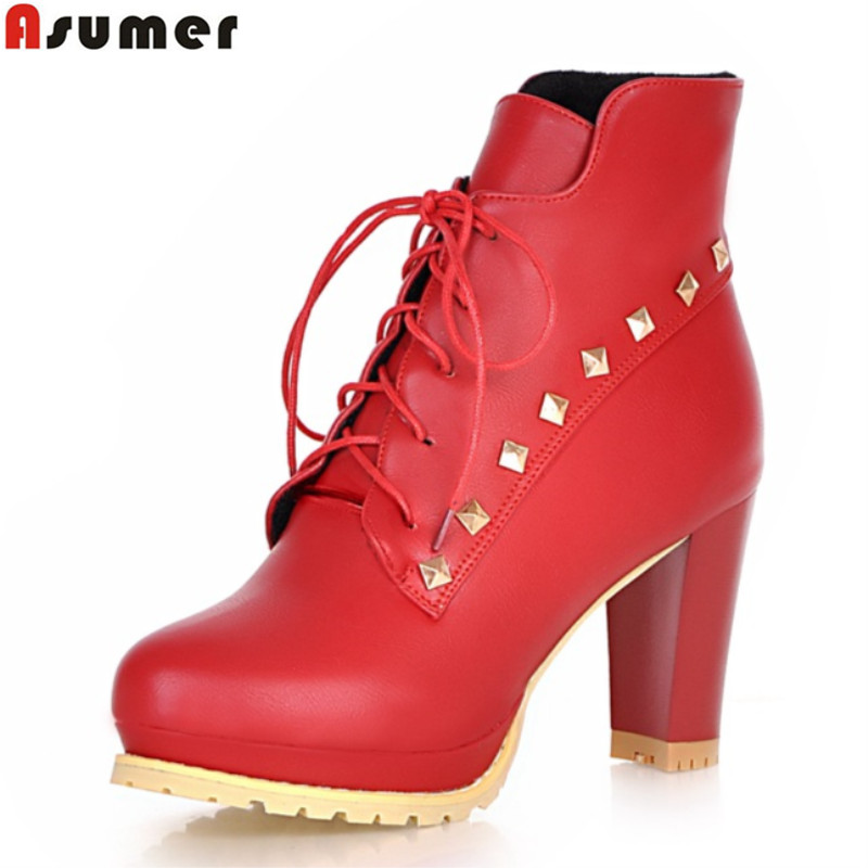 plus size 34-43 2016 fashion hgih quality pu ankle boots thick high heels round toe shoes solid black lace up women boots<br>