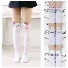 Kids Cute Pantyhose tight for girls Lovely hello Bunny Kitty Velvet Stockings Cartoon Patchwork Kids tight leg girls tights(China)