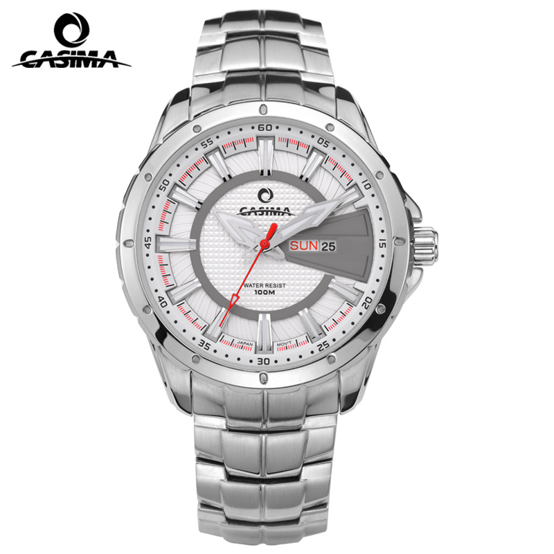 CASIMA cool sport luminous week date wrist watches for men with stainless steel leather watchband waterproof 8102<br>