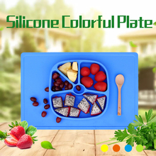2016Hot Kitchen Accessories Children Silicone dinner plates, animal Partition plate dishes and plates sets fruit bowl(China)
