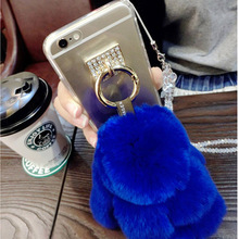 Cute Rabbit Fluffy Tassel Clear TPU Cover For iPhone 7/7Plus Case Doll Fur Decoration Phone Accessories Cases(China)