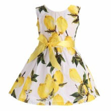 Floral Print Sleeveless Cotton Princess Wedding Little Girls Dress Party ;Flower lemon Children Beach Kid Summer Dress Girl 2017(China)