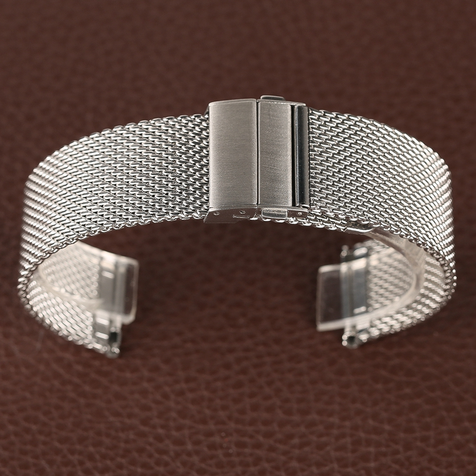 Mesh Milanese Bracelet Clasp Watchbands High Quality 18mm 20mm 22mm Silver Black Wrist Watch Band Strap for Clock Replacement 2018 (35)